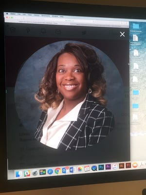 Xandra Brooks-Keys is shown in this photo of a computer monitor.