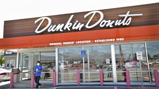 Shown on Monday, June 8, 2020, this Dunkin' Donuts in Quincy, Mass., is the chain's original location. Canton-based chain Dunkin' Donuts announced Monday that its franchisees plan to hire 25,000 new workers for a range of positions nationwide.