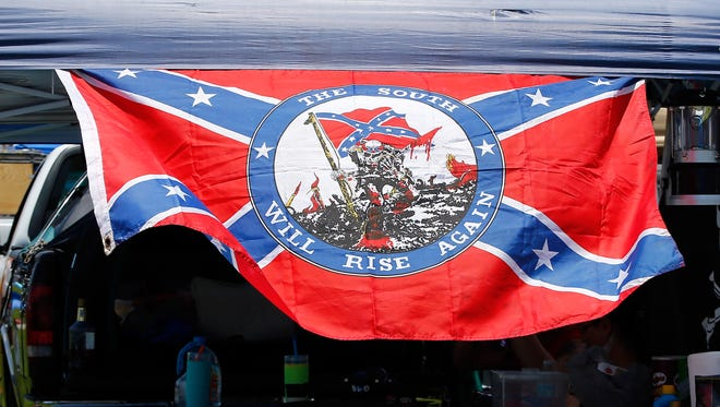 A Confederate flag is seen in the infield at Daytona International Speedway on Friday.