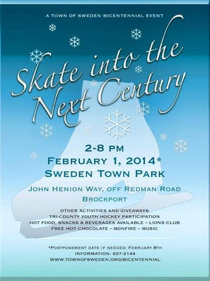 The Town of Sweden's second bicentennial celebration event of the year will be held on Saturday, February 1: outdoor skating!