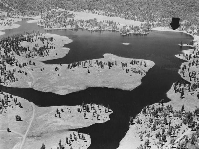 Hawley Lake with snow on July 29, 1958.