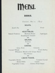 A page from the vegetarian menu at the Sanitarium in 1900.