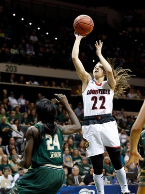 Mar 23, 2015; Tampa, FL, USA; Louisville Cardinals guard Jude Schimmel (22) makes a shot against the South Florida Bulls during the first half in the second round of the women's NCAA Tournamentat USF Sun Dome. Mandatory Credit: Aaron Doster-USA TODAY Sports