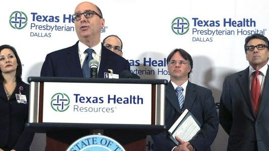 Dr. Mark Lester discusses the Ebola case Wednesday in Dallas.