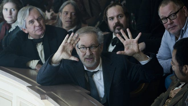 Director Steven Spielberg sets up a shot in 'Lincoln.'