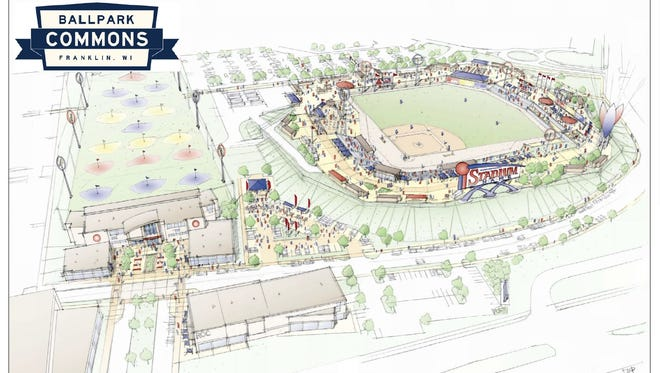 Artist's rendering of the Ballpark Commons stadium, golf facility, and plaza area last updated by Vandewalle and Associates March 1, 2017.