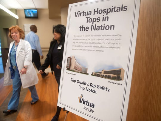 A view of the lobby of Virtua Hospital in Marlton.