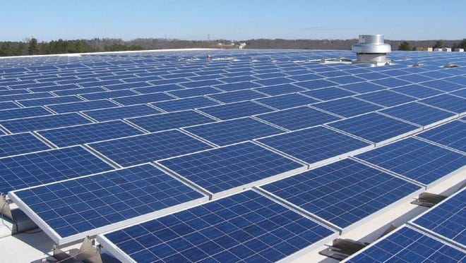 The solar panel array on the National Gypsum plant in Mount Holly, N.C. has about a 1-megawatt capacity.