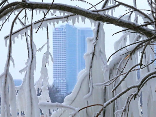 The U.S. Bank building and the new Northwestern Mutual building are seen through ice-covered branches near Bradford Beach in Milwaukee on Wednesday.