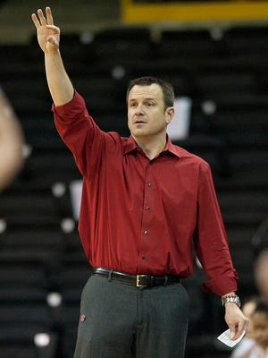 Mar 23, 2014; Iowa City, IA, USA; Louisville Cardinals head coach Jeff Walz gestures from the sidelines against the Idaho Vandals in the second half of a women's college basketball game in the first round of the NCAA Tournament at Carver-Hawkeye Arena. Mandatory Credit: Paul Halfacre-USA TODAY Sports
