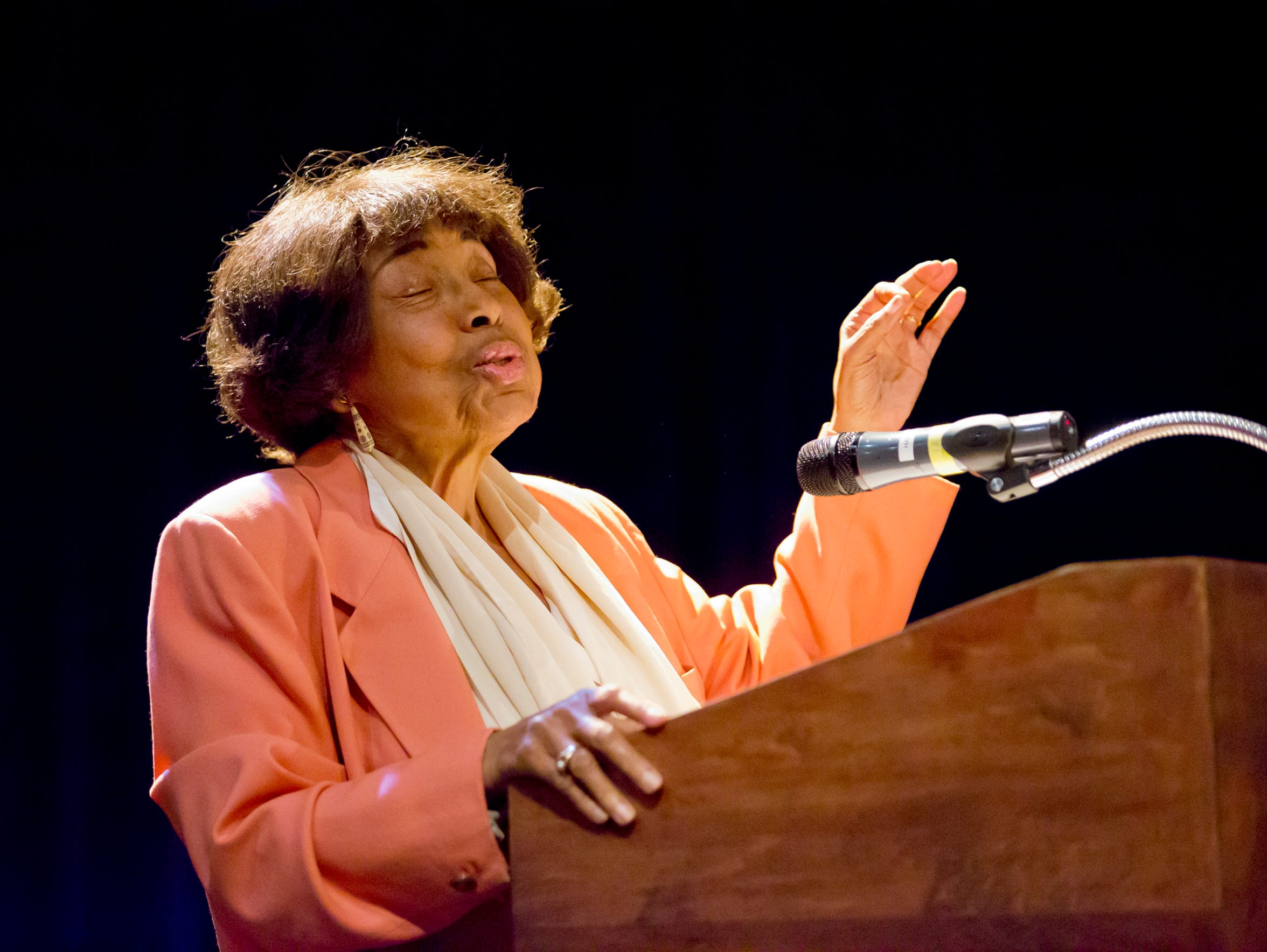Dorothy Cotton speaks in Ithaca in 2014.