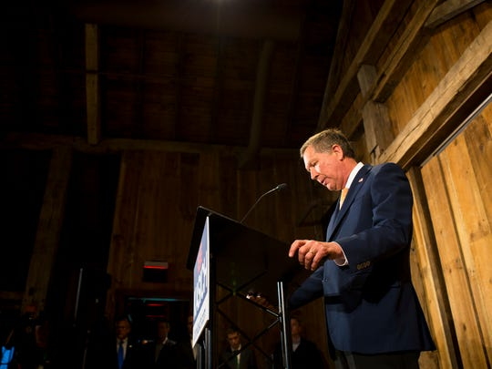 Gov. John Kasich announces that he is suspending his GOP presidential run at a press conference at The Franklin Park Conservatory and Botanical Gardens in Columbus Wednesday, May 4, 2016.