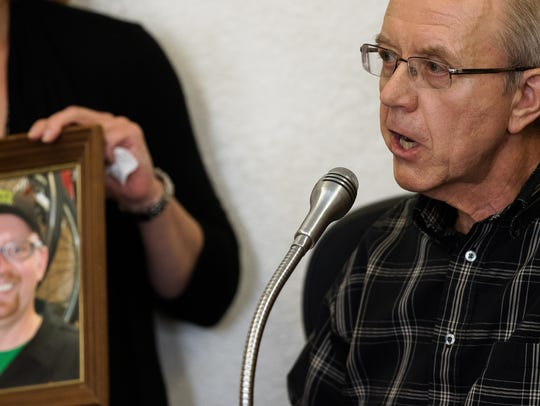 Gregary Franck, father of Wade Frank, speaks during