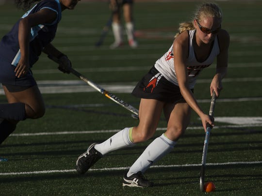 Central York's Kyra Heap controls the ball. Central York defeats Dallastown 3-1 in field hockey at Central York High School, Monday, October 2, 2017.