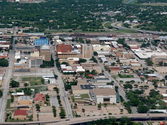 Aerial view of downtown Wichita Falls