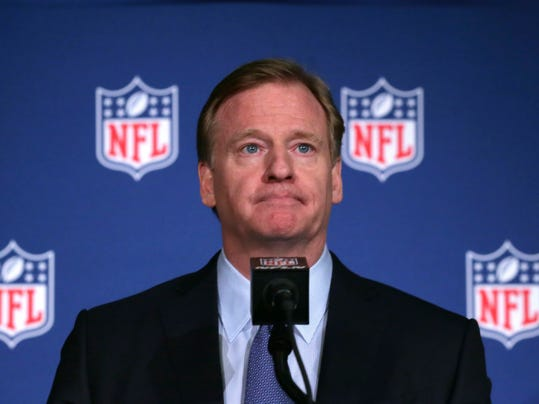 NLF Commissioner Roger Goodell listens to a question during a news conference after the NFL owners winter meeting in Irving, Texas, Wednesday, Dec. 13, 2017. (AP Photo/LM Otero)
