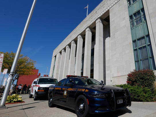 New York State Police and Broome County Sheriff vehicles