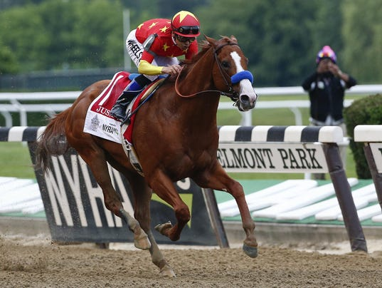 CORRECTION APTOPIX Belmont Stakes Horse Racing