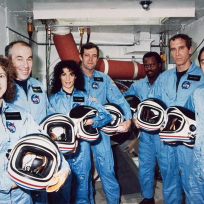 In this photo from Jan. 9, 1986, the Challenger crew