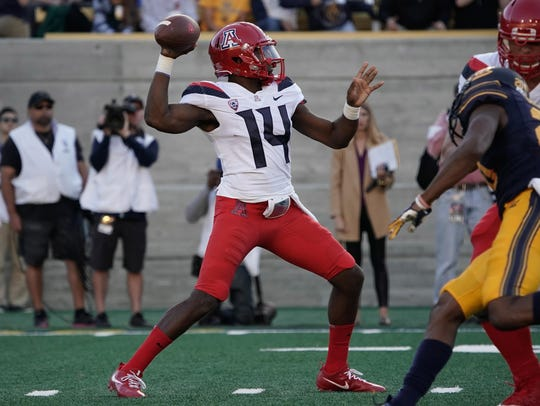 Oct 21, 2017: Arizona Wildcats quarterback Khalil Tate