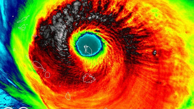 An amazing and terrifying picture of Barbuda fitting completely in the eye of the Hurricane Irma.