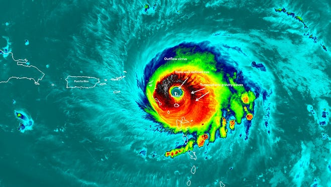 A NASA satellite passed over Hurricane Irma when the island of Barbuda was in the center of the storm's eye in this Infrared image from Sept. 6, 2017.