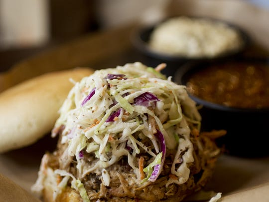Mission BBQ offers a wide variety of sauces, from the simple vinegar and pepper combination from North Carolina to Alabama white sauce.