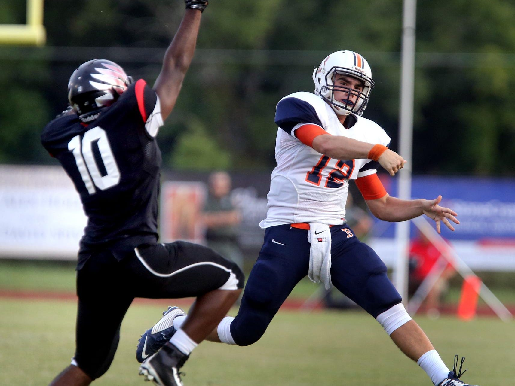 Blackman's Miller Armstrong throws a pass in the jamboree. Armstrong replaces Jauan Jennings at quarterback this fall.