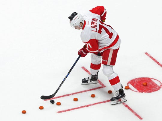 Red Wings forward Dylan Larkin during the skills challenge relay during the 2016 NHL All Star Game Skills Competition at Bridgestone Arena on Saturday.