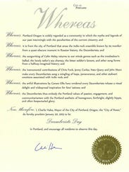 "Official proclamation for ""Decemberists Day"" in Portland."