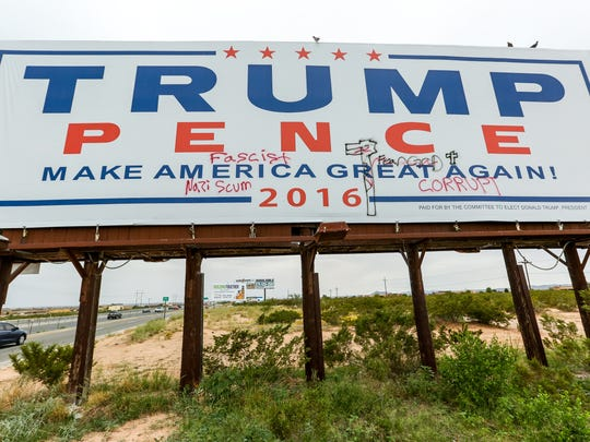 A Donald Trump billboard, posted on the westbound side