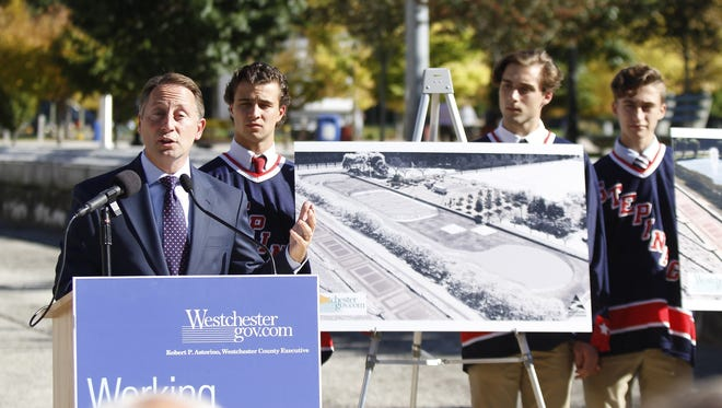 Westchester County Executive Rob Astorino, flanked by Stepinac hockey players, announces the plans for an ice rink at Kensico Dam Plaza during a press conference in Valhalla on Oct. 11, 2016. John Meore/The Journal News Westchester County Executive Rob Astorino flanked by Stepinac hockey players, announces the plans for an ice rink at Kensico Dam Plaza during an press conference in Valhalla on Tuesday, October 11, 2016.