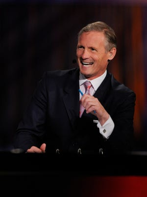 NFL Network analyst Mike Mayock during the NFL Draft at Radio City Music Hall.