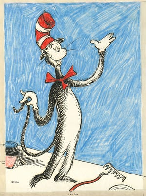 """Dr. Seuss' iconic """"The Cat in the Hat"""" wears a well-known red and white top hat that also was part of his private hat collection."""