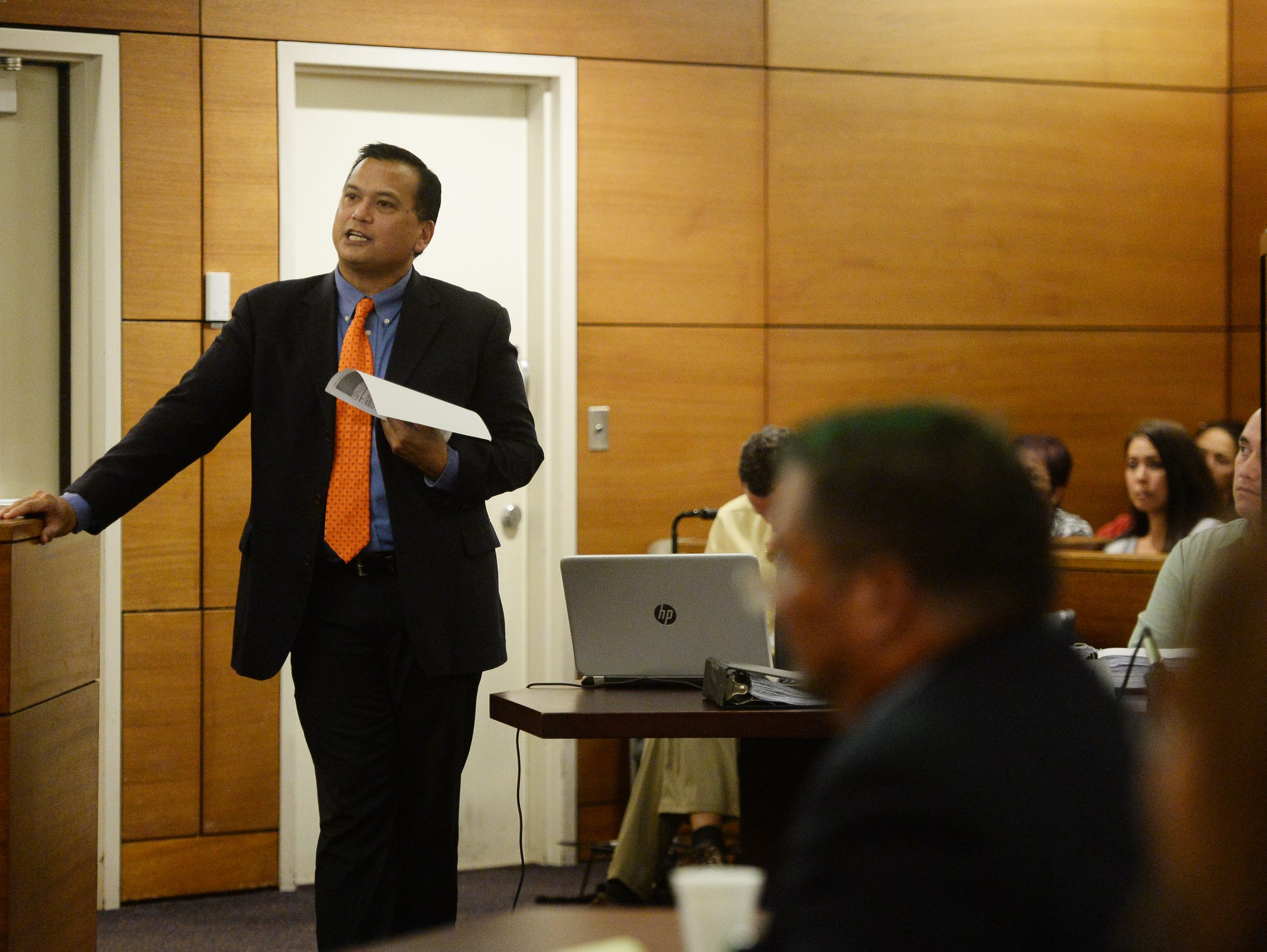Defense attorney Jay Arriola is shown questioning a