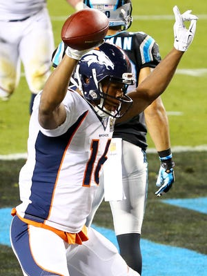 Bennie Fowler #16 of the Denver Broncos celebrates after scoring a two point conversion in the fourth quarter during Super Bowl 50 at Levi's Stadium on February 7, 2016 in Santa Clara, California.
