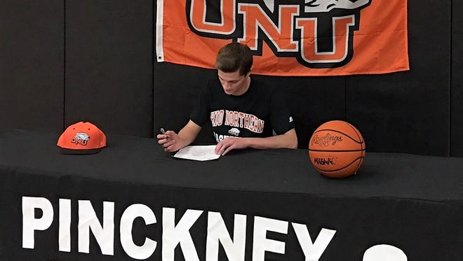 Pinckney's Kyle O'Donohue signs a national letter of intent to attend Ohio Northern on a basketball scholarship.