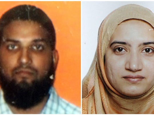This two-picture combo shows the two suspects in the December 2, 2015 mass shooting in San Bernardino, California. At left an undated Student ID card photo from California State University, Fullerton, of Syed Farook. At right an undated handout photo released by the FBI on December 4, 2015 of Tashfeen Malik.