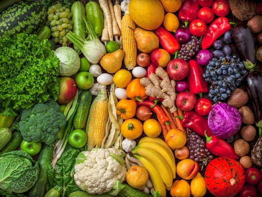 Fruits and vegetables large overhead colorful mix green to red