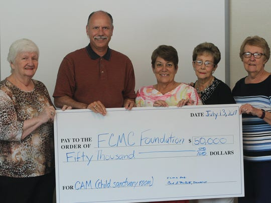 The Fulton County Medical Center Auxiliary pledged $50,000 to the FCMC Foundation for the Child Safe/Sanctuary Room in the new Center for Advanced Medicine. Pictured, from left, Carol Mellott (Auxiliary Treasurer), Mike Straley (FCMC Foundation Executive Director), Nancy Younker (Auxiliary President), LaRue Waters (Auxiliary Recording Secretary) and Sally Cover (Auxiliary Vice President).
