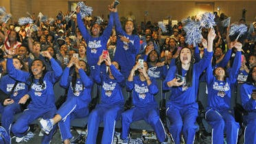 TSU's basketball players react after learning they will play Kentucky in the NCAA Tournament.
