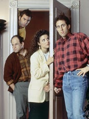 "Cast of the TV show ""Seinfeld"" from left to right:"