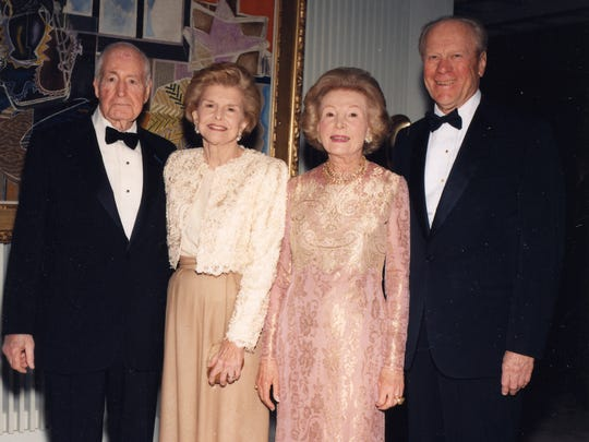 Walter and Leonore Annenberg,Betty Ford and President Gerald Ford are seen on a visit to Sunnylands.
