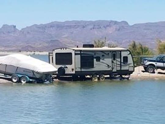 An RV parked too close to the lake at Elephant Butte Lake State Park Tuesday.