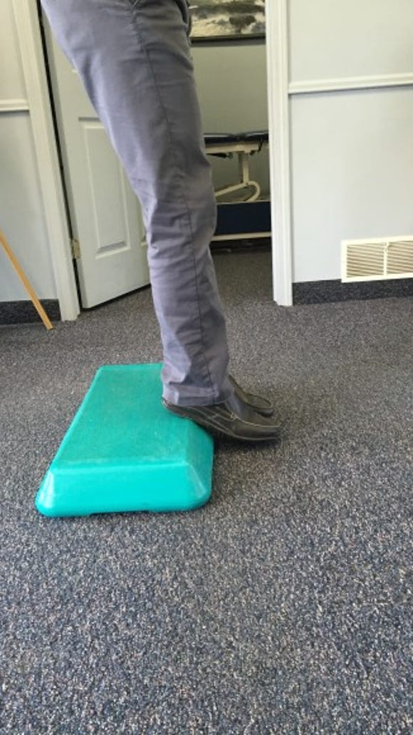 Try lowering your foot/ankle down as slow as you can and past the step
