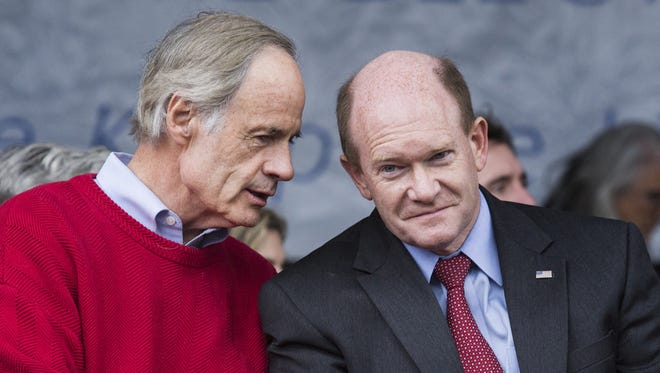 Sen. Tom Carper (left) and Sen. Chris Coons,along with Gov. John Carney, will take part in a rally Friday in Dover calling on both to back a clean DREAM Act.