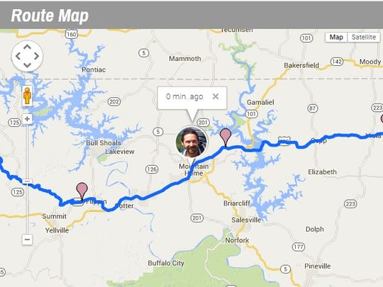 This route map tracking Ryan Ray's cross-country journey real time shows when he arrived in Mountain Home on Tuesday afternoon.