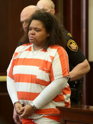 Andrea Bradley, 28, in Hamilton County Common Pleas Court Wednesday for an arraignment before Judge Robert Ruehlman. Bradley and 32-year-old Glen Bates, the father of Glenara Bates, are charged in their 2-year-old daughter's death. She sobbed through most of the hearing. Ruehlman ordered her held without bond, and she faces the death penalty.