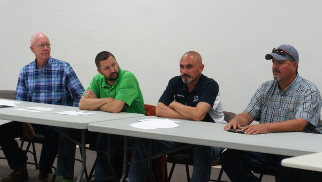 From left, Public Works Director Jim Massengill, Community Projects Director Bryan Reedy, Mayor Benny Jasso, and City Administrator Aaron Sera take questions about city streets at a Feb. 13 town hall.