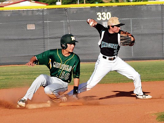 Jaime Guzman/For the Sun-News   Oñate shortstop Roman Trujillo gets ready to throw to first as Mayfield's Jalen Sanchez tried to break up the double play attempt during Tuesday's District 3-6A game at the Field of Dreams Baseball Complex.